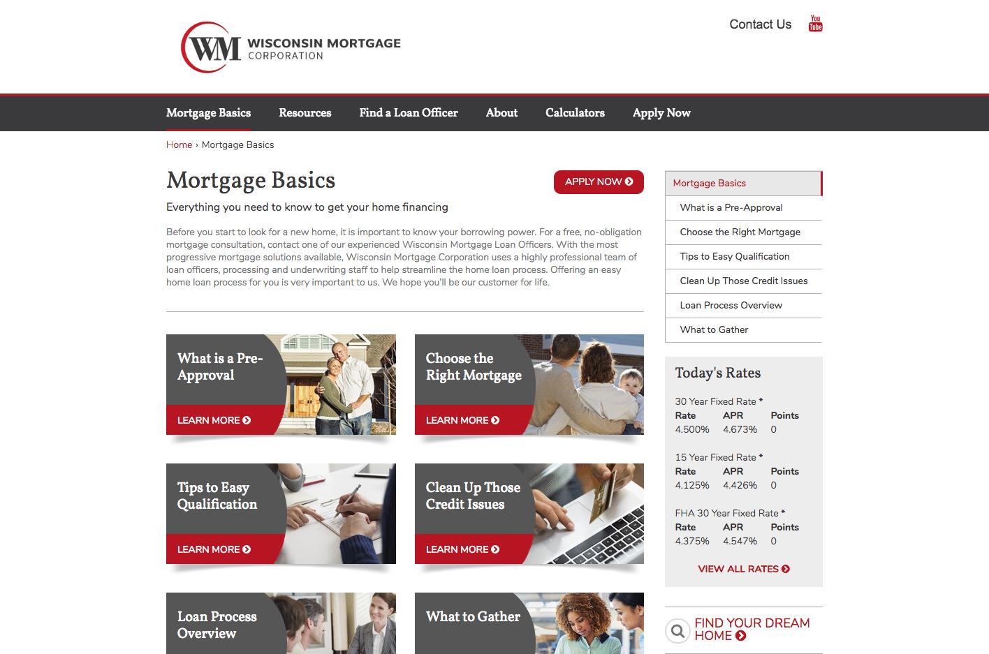Wisconsin Mortgage basics webpage