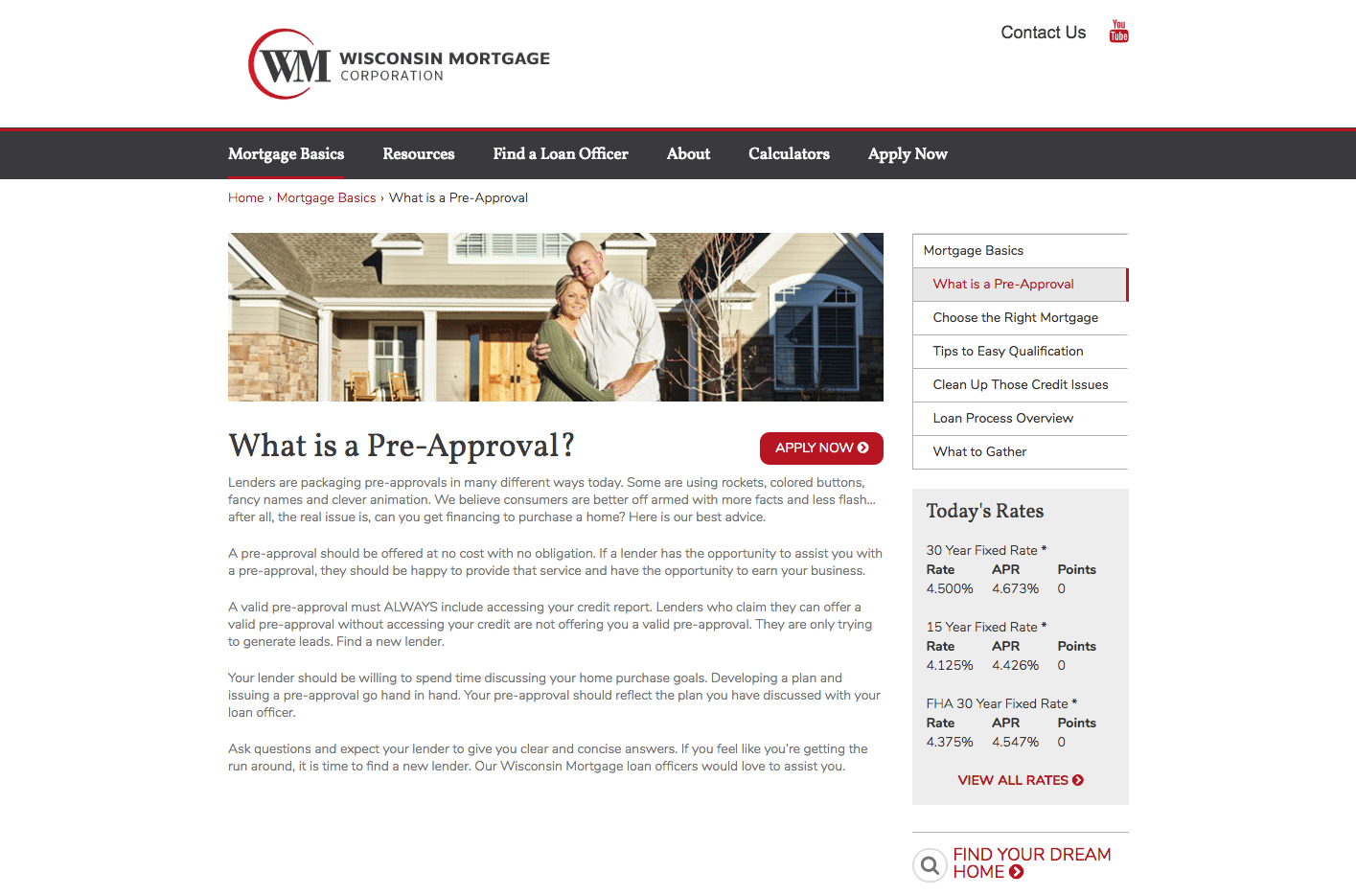 Wisconsin Mortgage Preapproval webpage