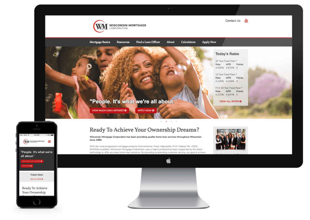 Wisconsin Mortgage website on desktop and mobile