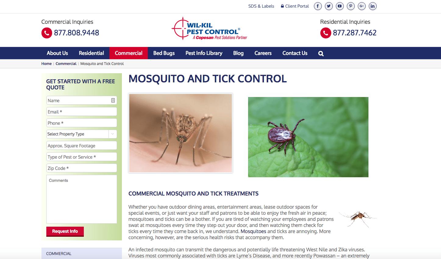 Wil-Kil pest library webpage