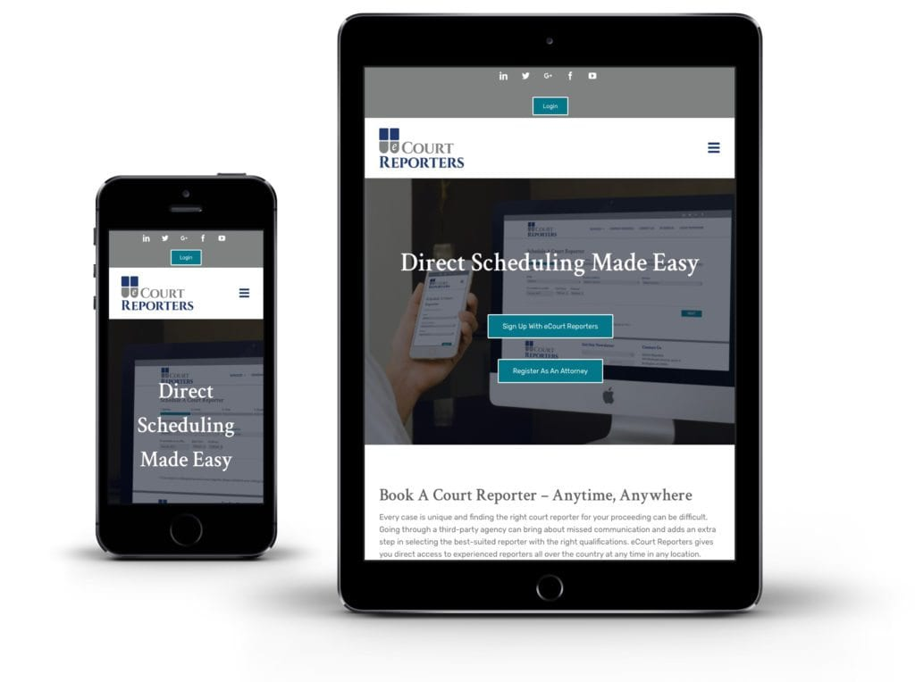 eCourt Reporters website on tablet and mobile
