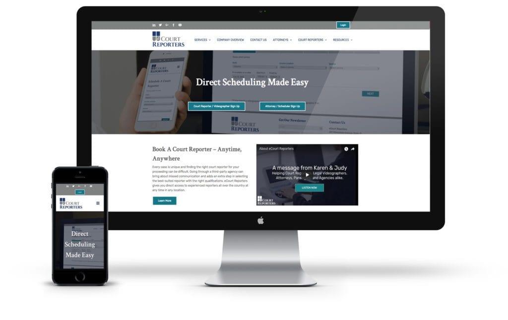 eCourt Reporters website on desktop and mobile