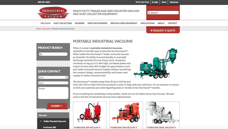Industrial Vacuum detail page