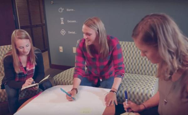 Team members brainstorming