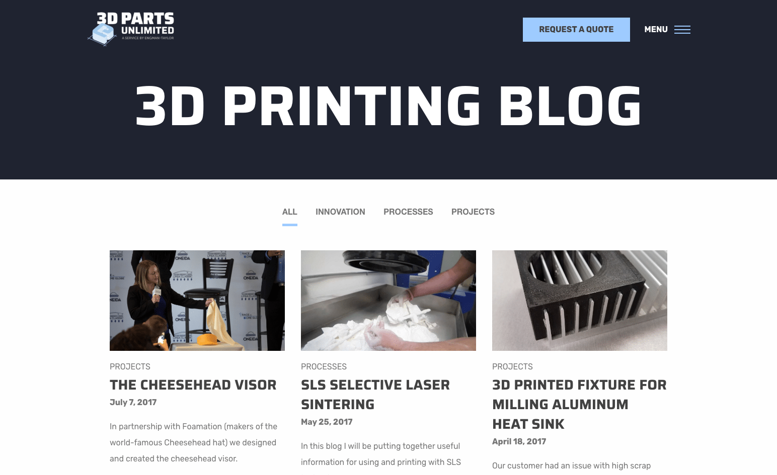 3D Parts Unlimited blog page