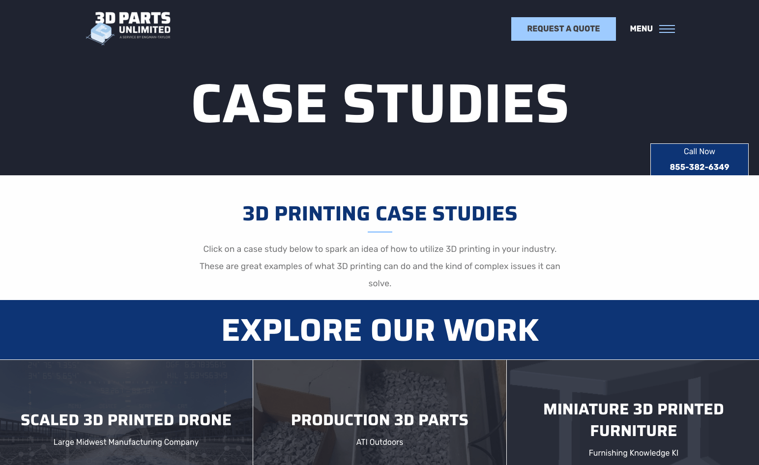 3D Parts Unlimited case studies web page