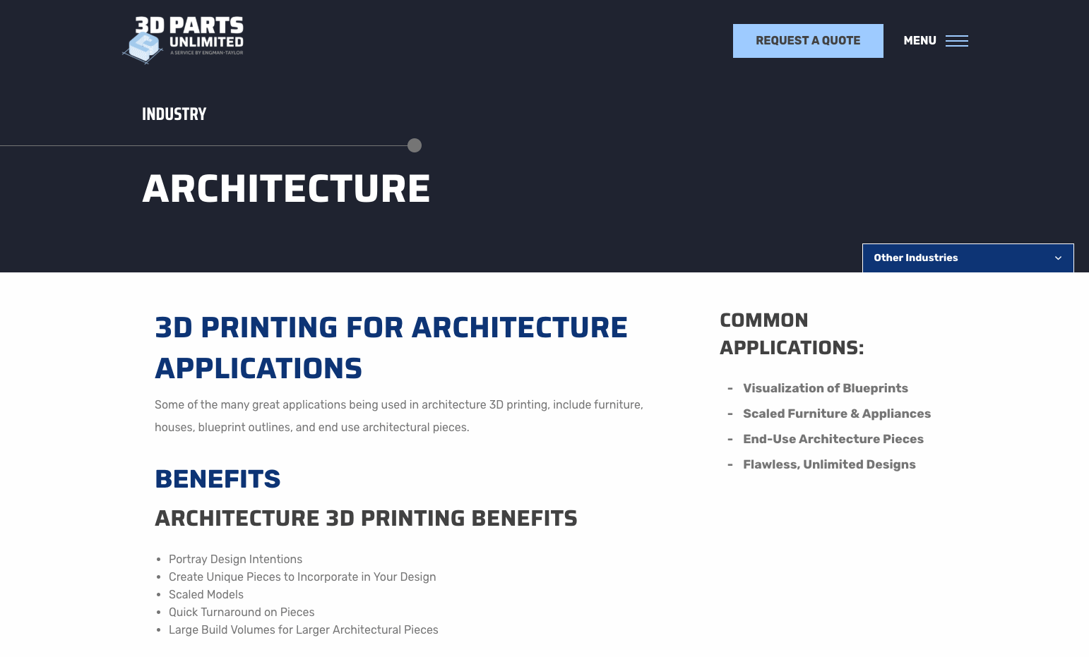 3D Parts Unlimited industries webpage
