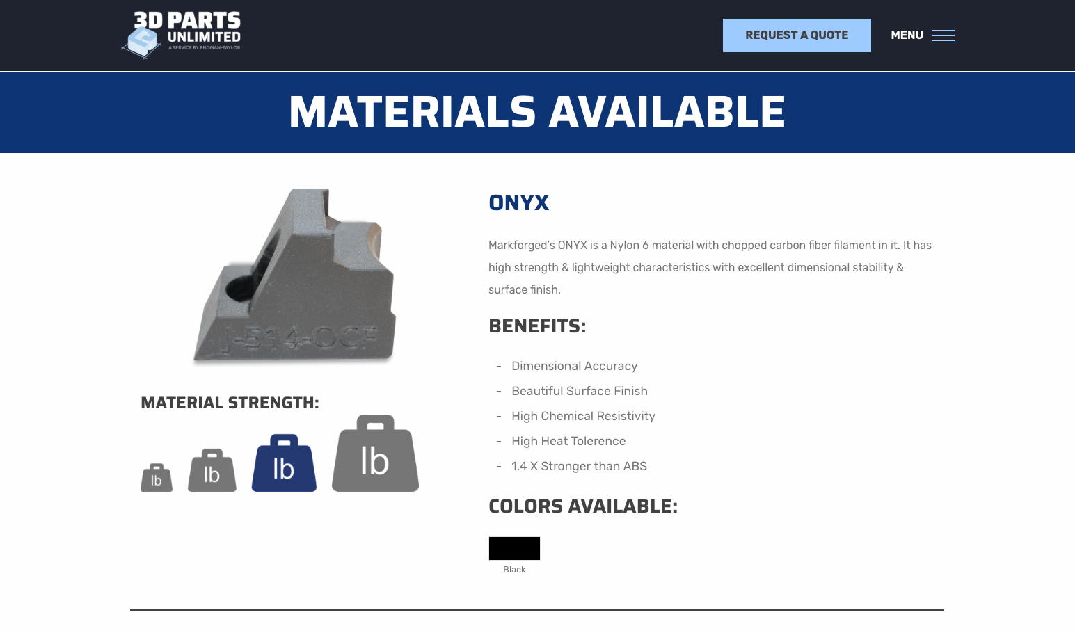3D Parts Unlimited materials page