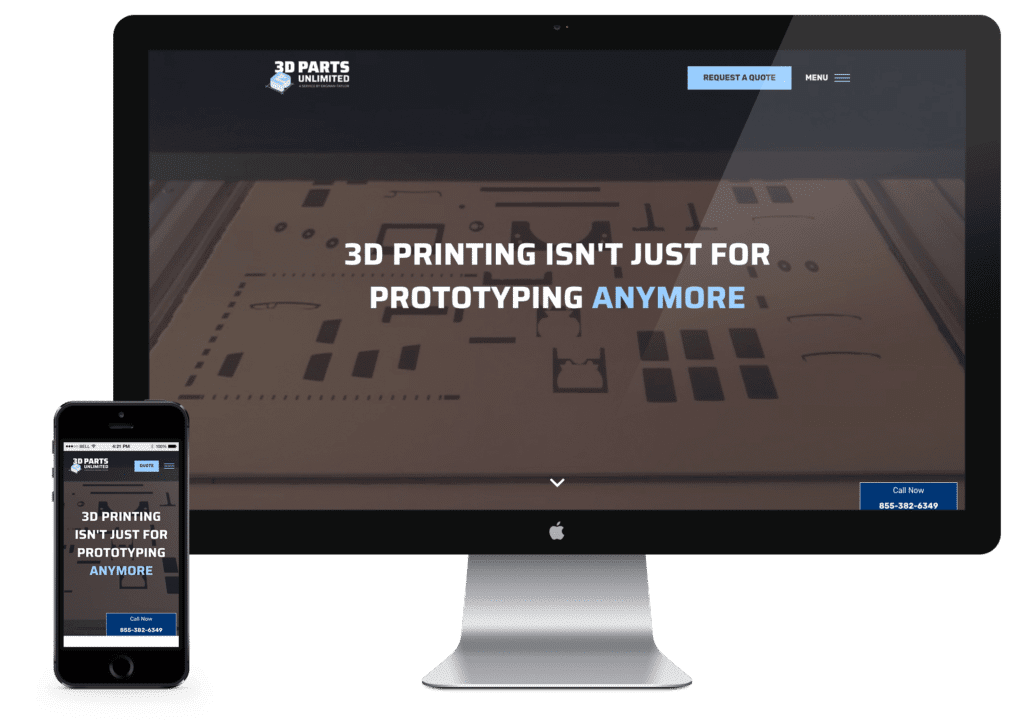 3D Parts Unlimited website on desktop and mobile phone