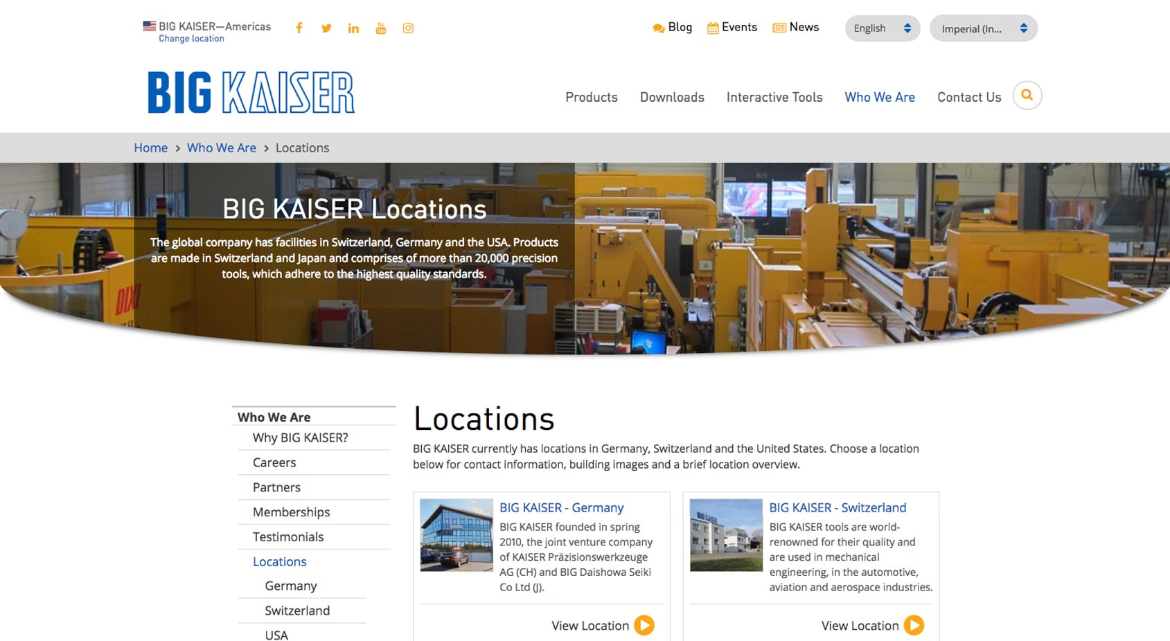 Big Kaiser Locations Web page