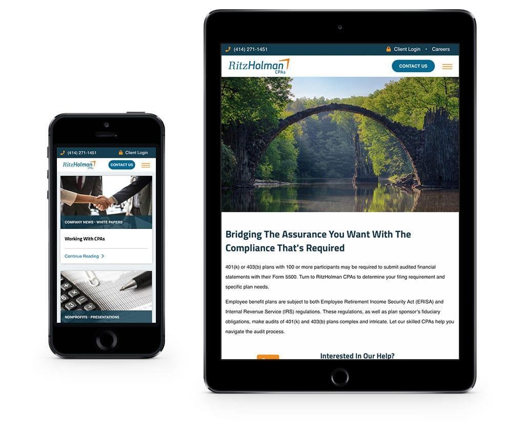 Ritz Holman website on iPhone and iPad