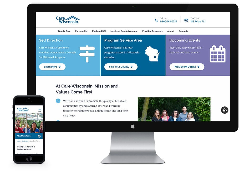 Care Wisconsin website on mobile and desktop