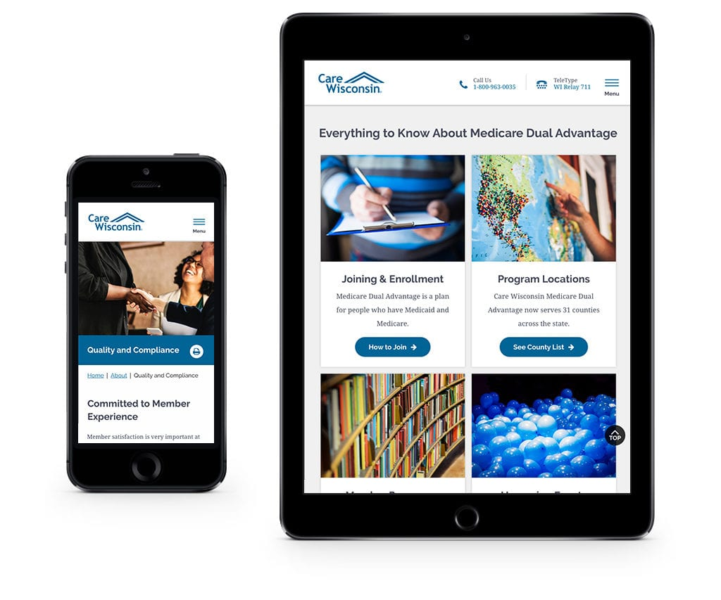 Care Wisconsin website on mobile devices