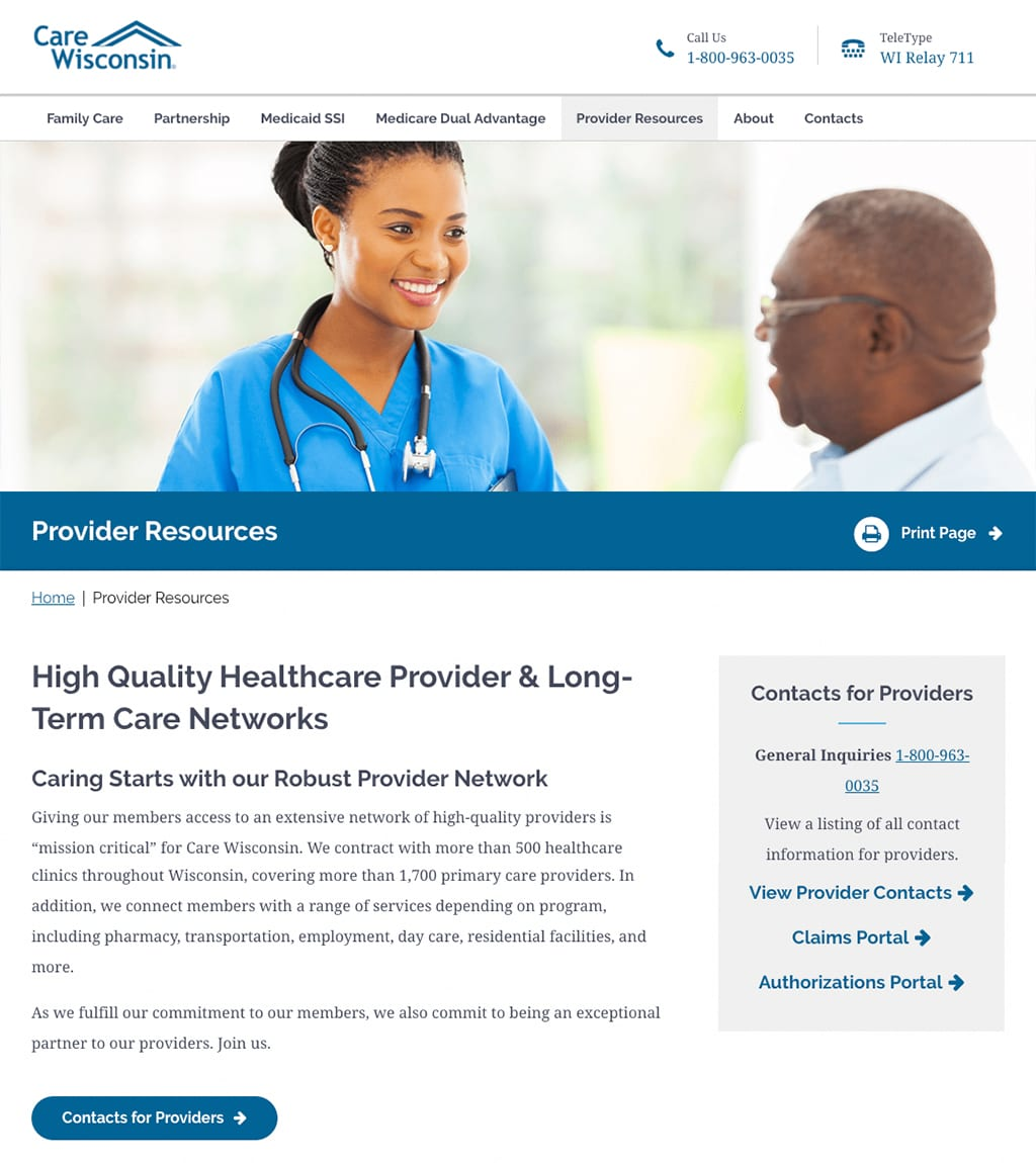 Care Wisconsin Provider Resources webpage