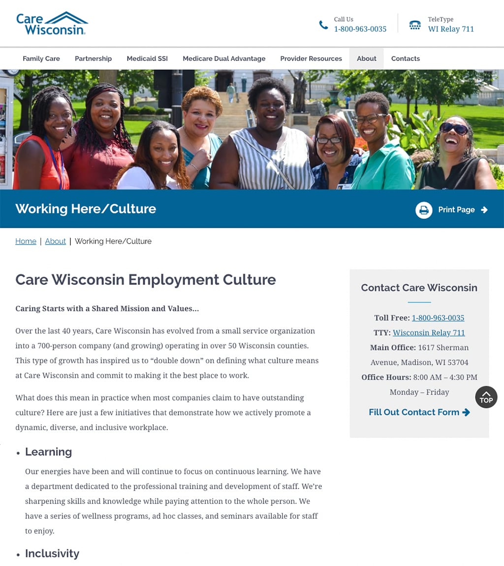 Care Wisconsin About Us webpage