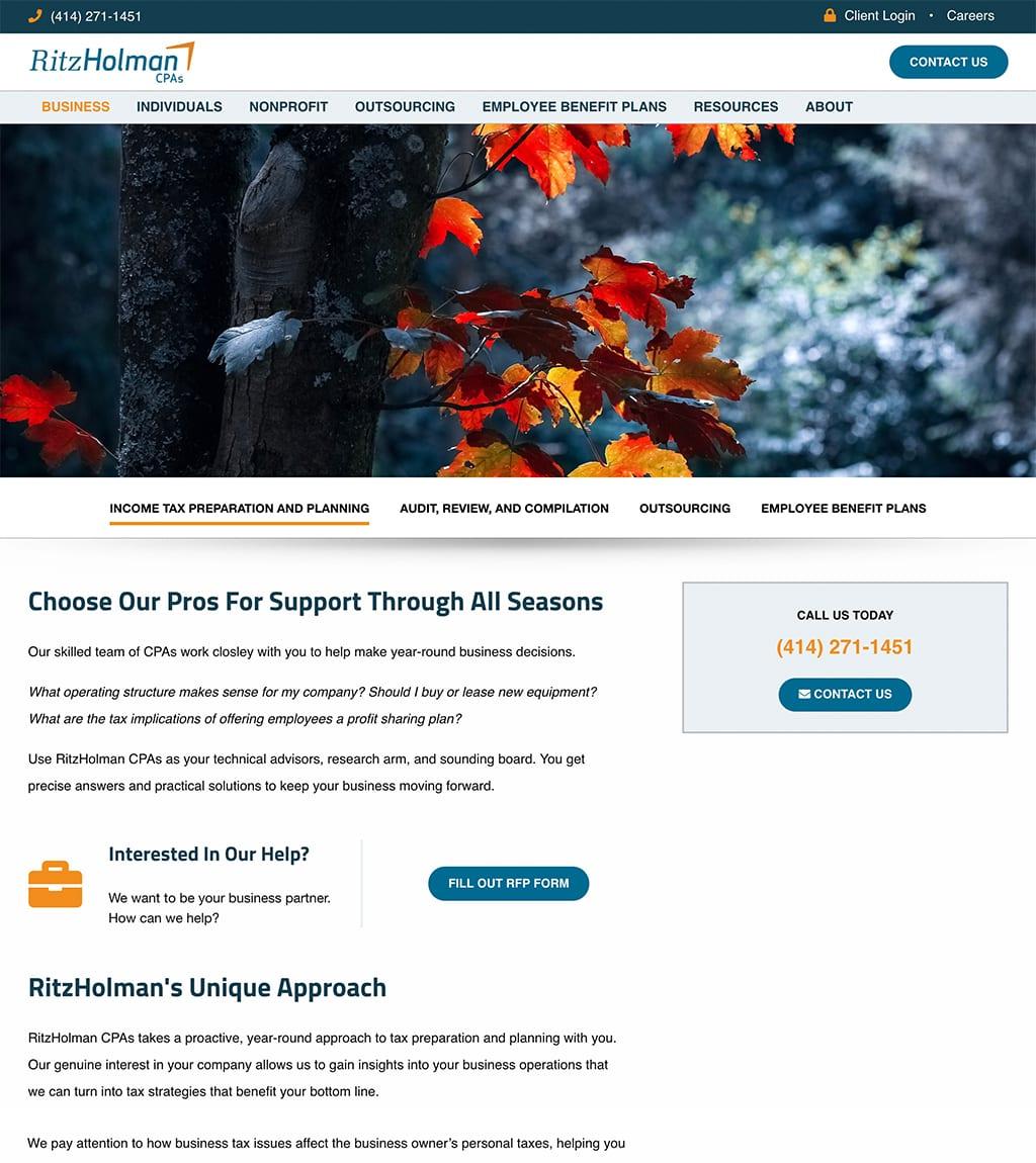 Ritz Holman Business webpage