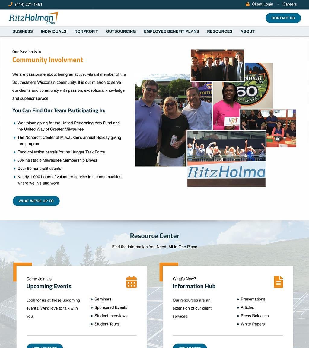 Ritz Holman Community Involvement webpage