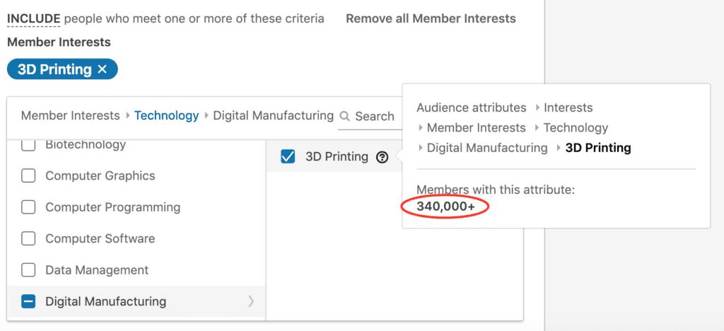 LinkedIn interest targeting for 3D printing