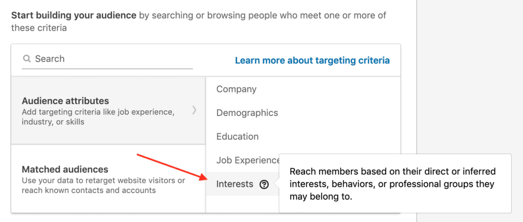 LinkedIn Interest Targeting example