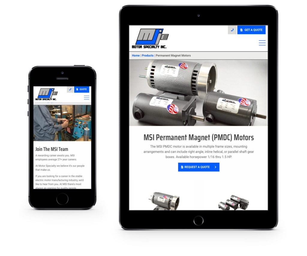 Motor Specialty website on mobile and tablet