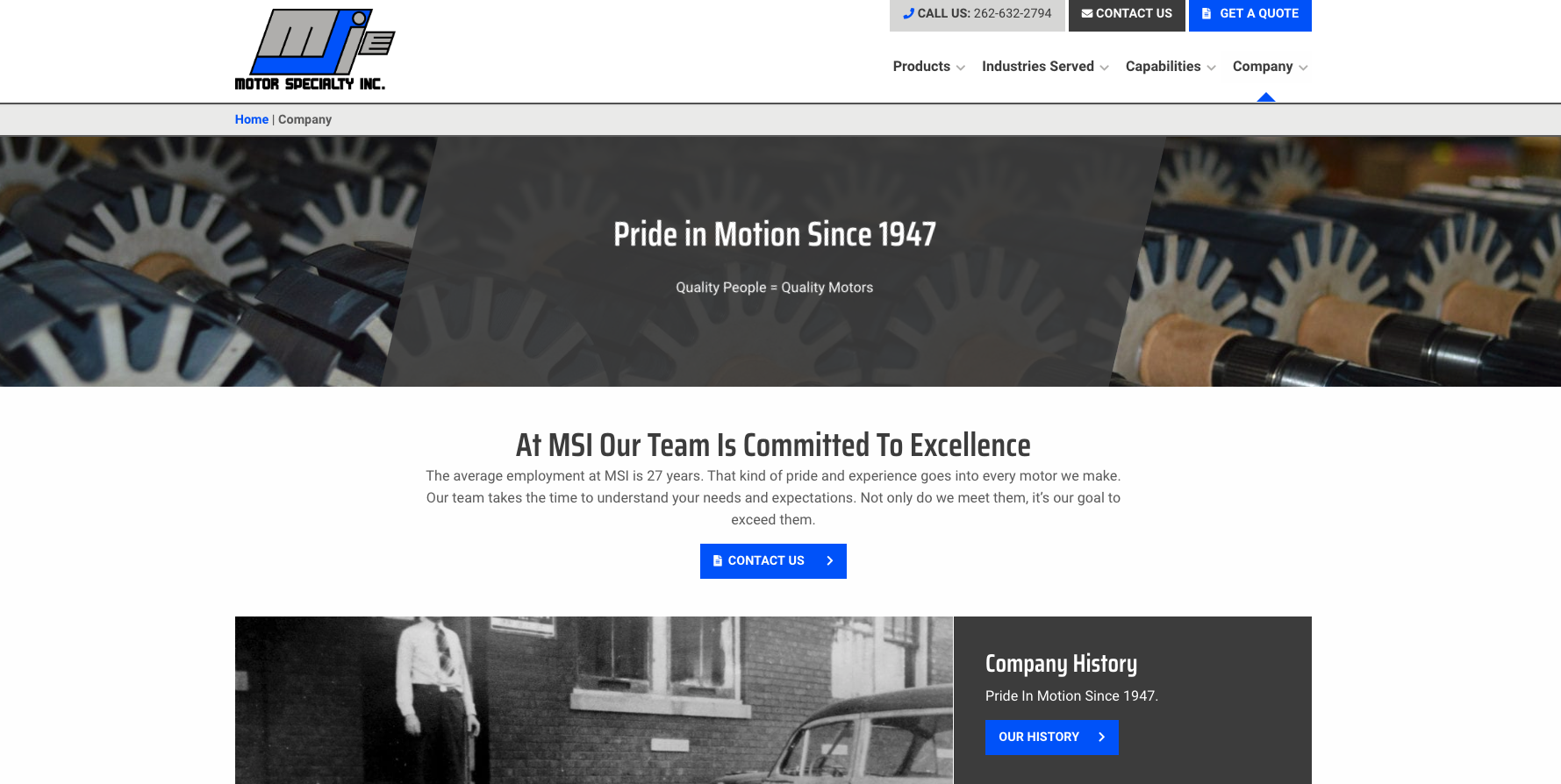 Motor Specialty Company Page