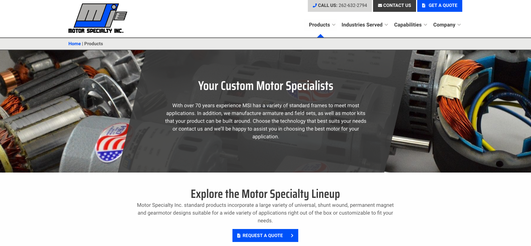 Motor Specialty Services page