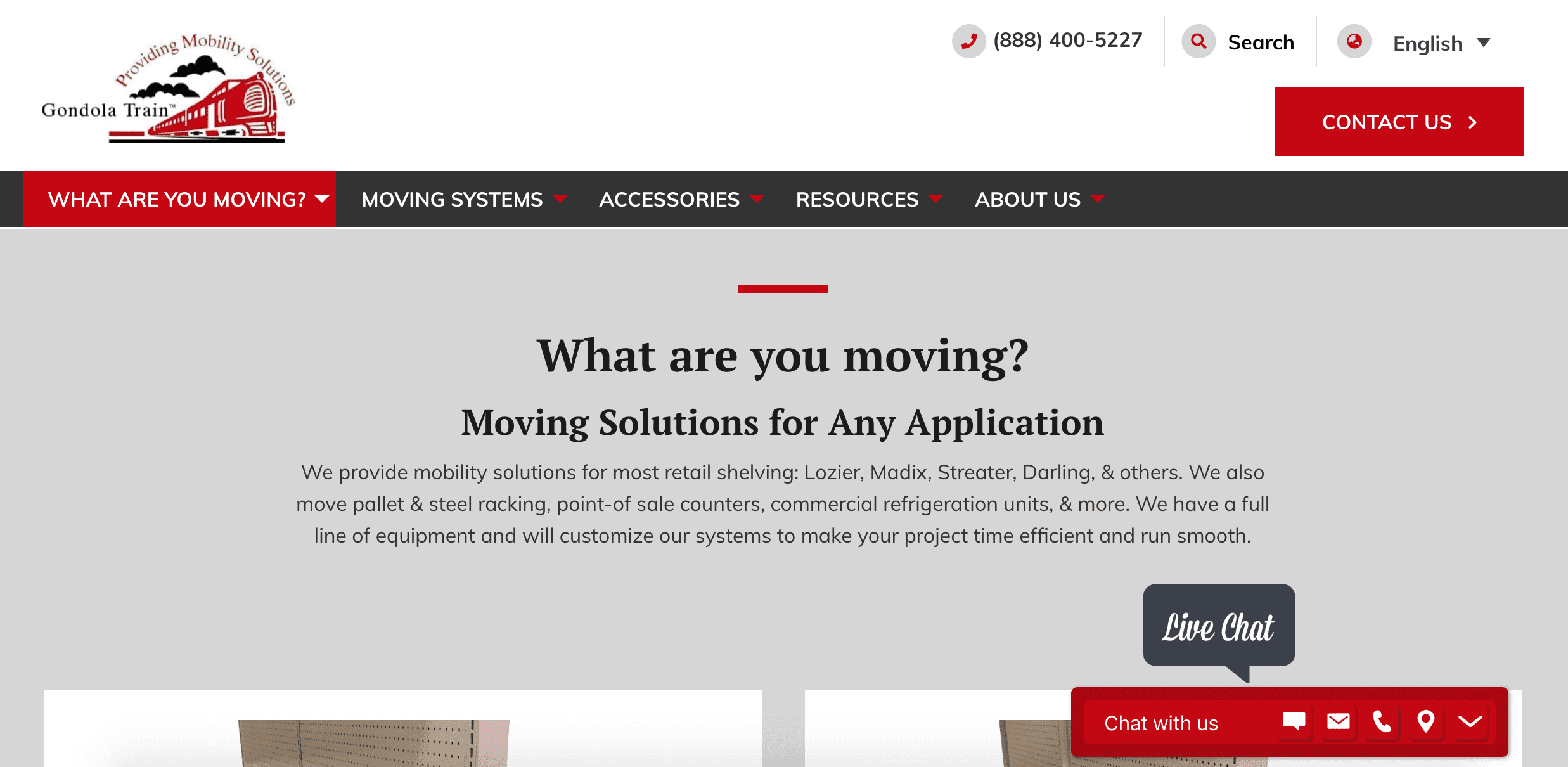 Gondola Train Moving Systems webpage