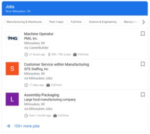 Listing of manufacturing jobs near milwaukee
