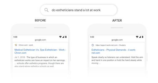 google search results before and after the bert update