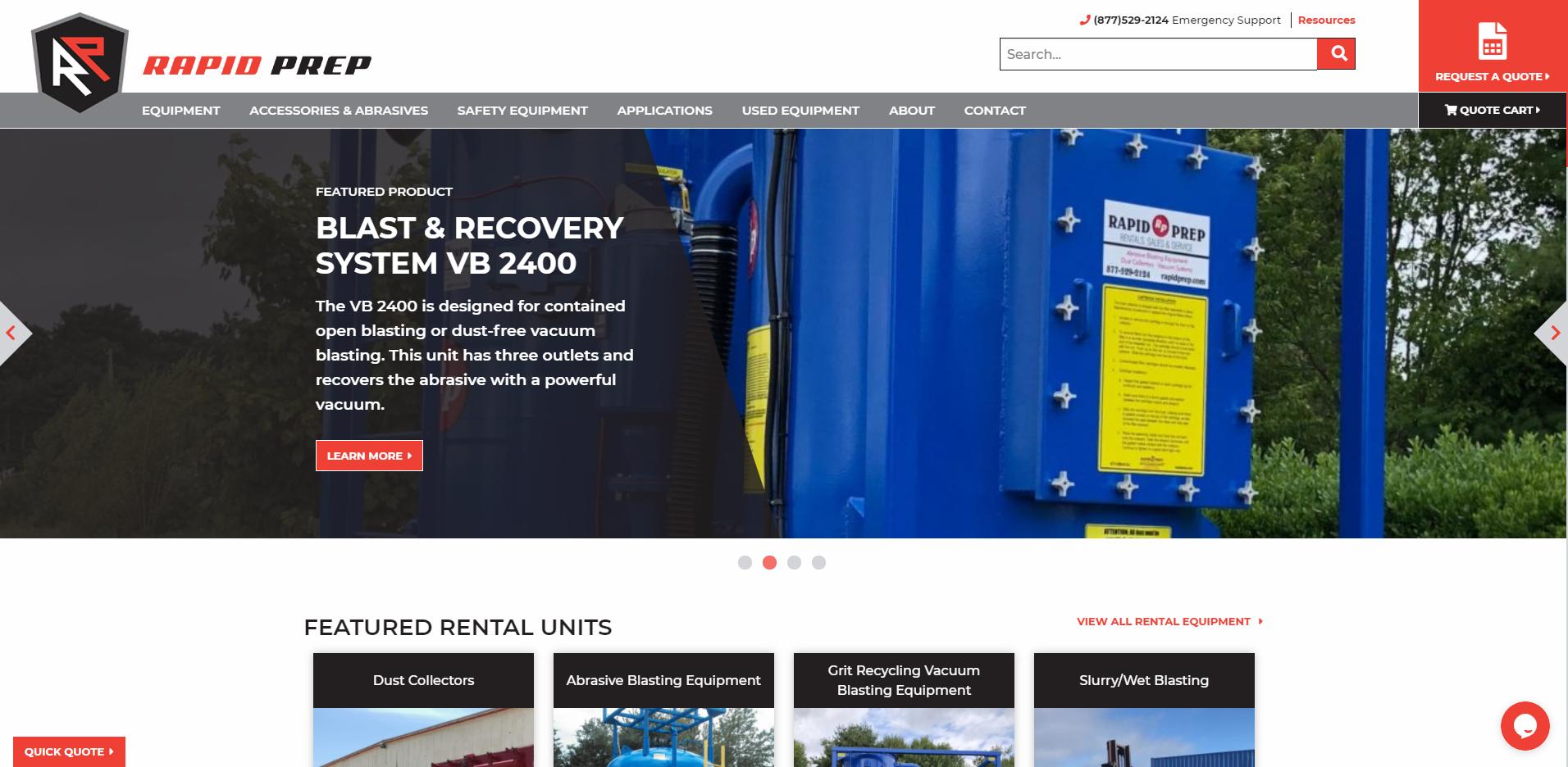 Rapid Prep rentals webpage
