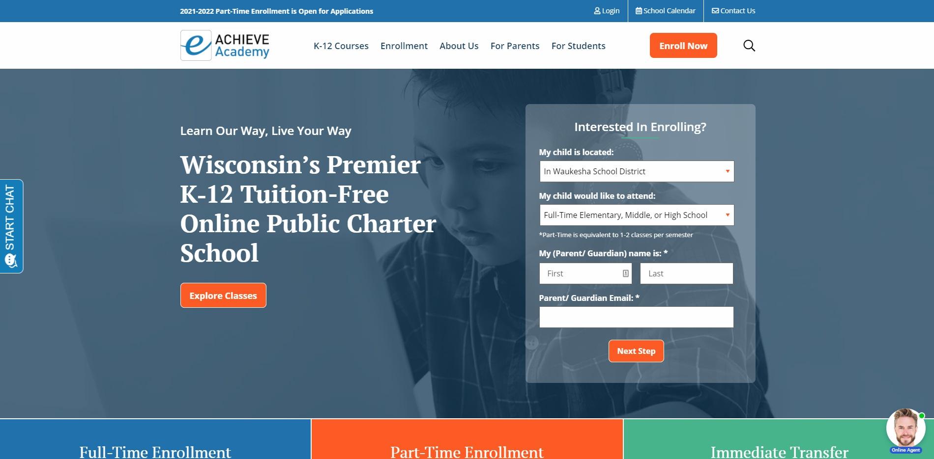 eAchieve website homepage