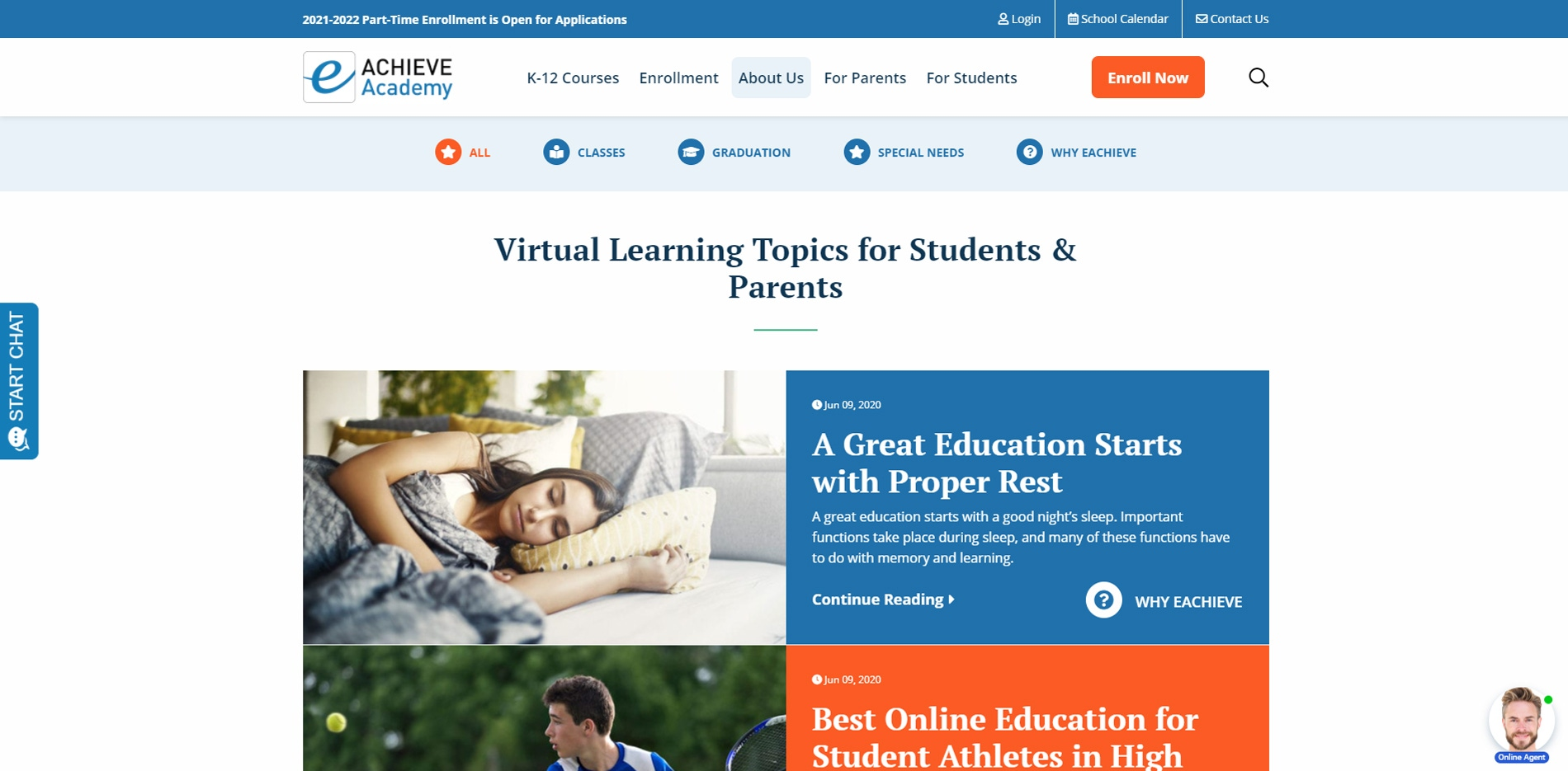 eAchieve website About us page