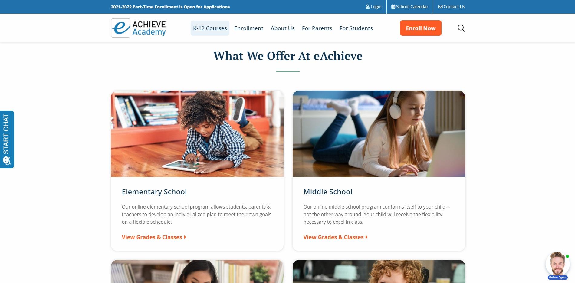 eAchieve website k-12 courses page