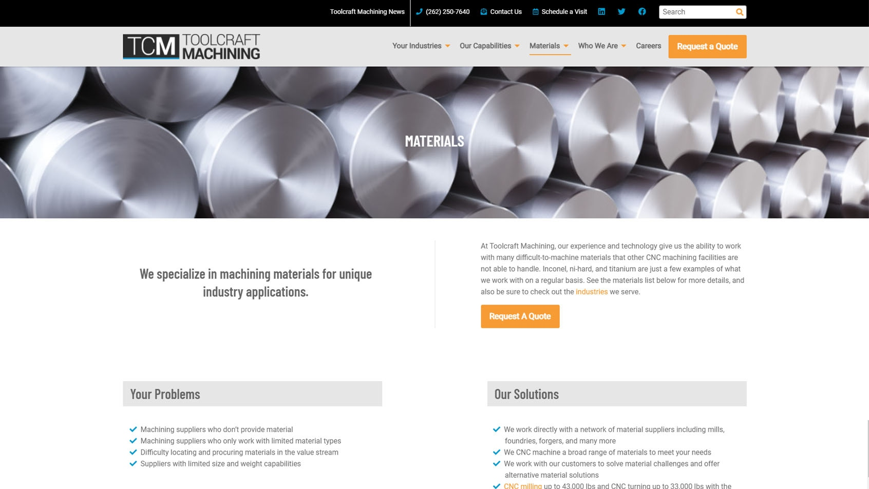 Toolcraft website materials page