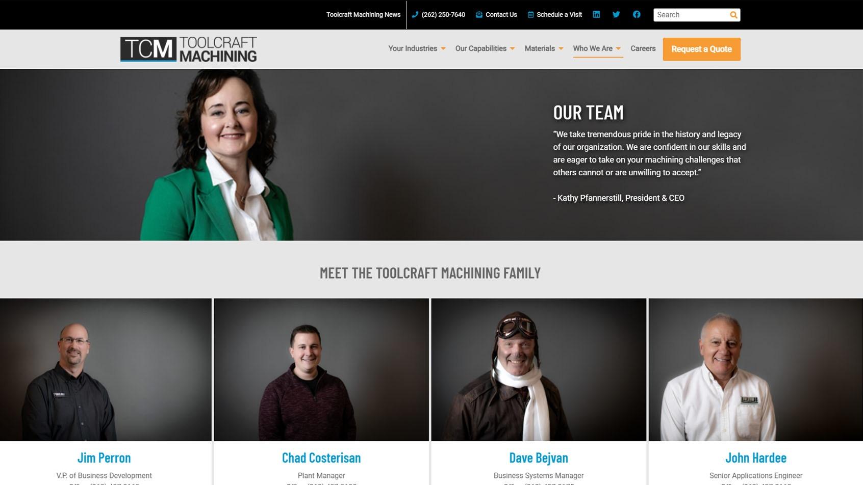 Toolcraft website team page