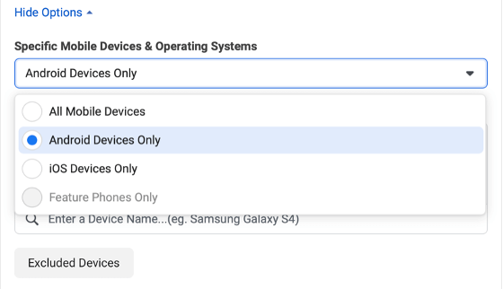 Image of targeting specifications for iOS and Android