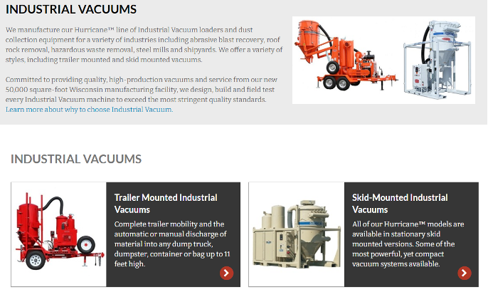 Category Page for Industrial Vaccuums